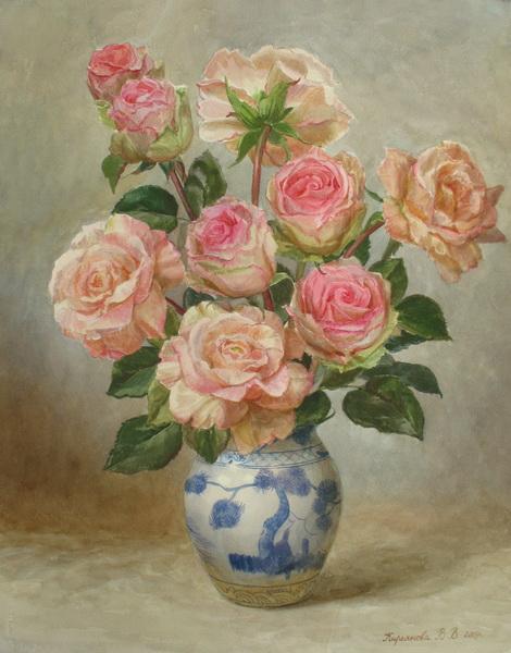 Виктория Кирьянова. Розы в китайской вазе, 2009